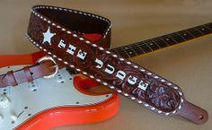 "El Dorado Guitar Accessories custom-order ""Bakersfield"" model guitar strap. Hand-tooled leather, hand-painted lettering"