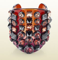 plexiglass cuff with crystal studs