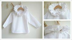 White blouse | Double ruffle collar