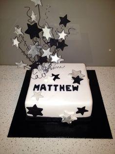 Birthday Cake -Male Star White, Black & Silver theme