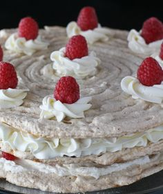 Dacquoise with Almond Buttercream, Ganache and Fresh Raspberries