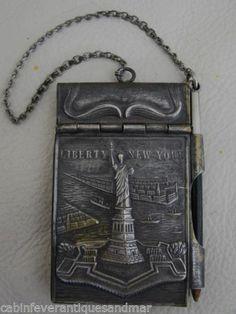 Antique Victorian Art Nouveau Chatelaine Memoire Aide New York Liberty 1907 | eBay