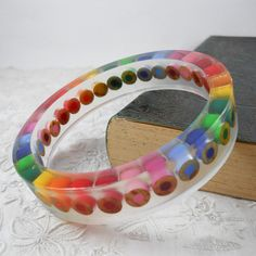Resin Bangle - Resin Jewelry - Colored Pencil - Teacher - Bracelet  - Teacher Gift - Cuff -  Resin - Personalized - Multi Color Rainbow