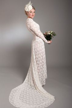 Stunning and rare 1940's full length lace wedding gown at Elizabeth Avey