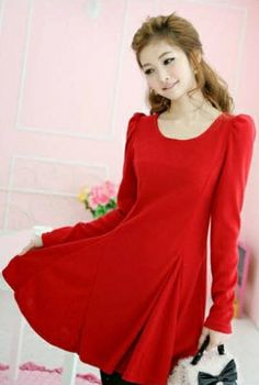 Gorgeous Strong Elastic Drape Long Sleeves Solid Dress on BuyTrends.com, only price $15.00
