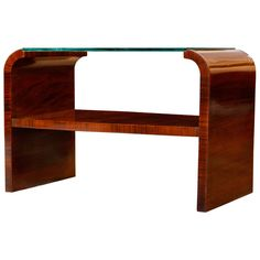 French Art Deco Rosewood and Glass Side Table - love the simple lines and beautiful wood