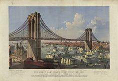 Antique Brooklyn Bridge-East River Bridge Framed Wall Art — Giclee print and framed in USA by MUSEUM OUTLETS