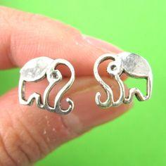 Elephant Cut Out Animal Stud Earrings in Sterling