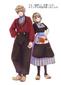 Willem (head-canon name for Netherlands) and Anouk (head-canon name for Belgium) in traditional dress - Art by てょ