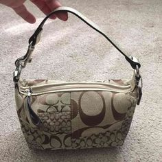"Coach Gold Handbag This is small super cute Coach handbag! Measures 9"" X 5"" with a strap drop that measures 5""! Very cute with gold trim! Check out my closet too! Coach Bags Shoulder Bags"
