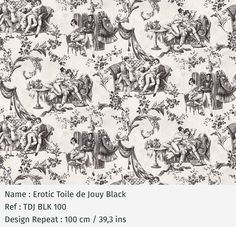 EROTIQUE TOILE DE JOUY -TAPETTI Pascale Risbourg Toile Wallpaper, Bathroom Wallpaper, Textiles, Textile Prints, Black And White Interior, Blue Wallpapers, Chinese Painting, Textured Walls, Facade