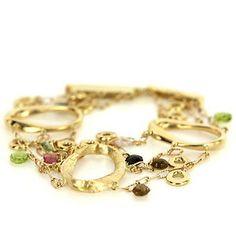 Estate 14 Karat Yellow Gold Peridot Quartz Charm Bracelet Fine Jewelry Used  $1595