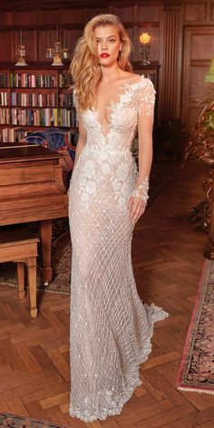Galia Lahav Wedding Dresses - Queen of Hearts Bridal Collection ,This hand-beaded mermaid gown has a low cleavage in the front and back and unique sheer long sleeves made of crochet beaded lace and a vintage rose pattern wedding gown Queen Wedding Dress, Queen Dress, Long Wedding Dresses, Long Sleeve Wedding, Wedding Dress Styles, Bridal Dresses, Wedding Gowns, Boho Wedding, Wedding Vintage