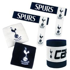 TOTTENHAM HOTSPUR Accessories Set containing 2 x Wristbands, 1 x Captains Arm Band, 2 x Sock Ties. Official Licensed Tottenham Merchandise. FREE DELIVERY