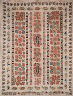 Antique Turkish Ottoman Silk Embroidery on Linen. Used as a Bed Cover.