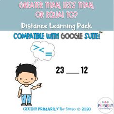 This online learning, distance learning work pack is stuffed with Greater Than, Less Than, or Equal To practice. Are you struggling to come up with activities for distance learning? Look no further. This work pack is versatile. Have students complete it with you on Google Meet or Zoom with you watc...