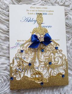 Really beautiful gold and royal blue princess invitation Sweet 16 Decorations, Quince Decorations, Quinceanera Decorations, Quinceanera Party, Quinceanera Dresses, Quince Invitations, Princess Invitations, Elegant Invitations, Wedding Invitations Royal Blue