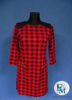 Kup mój przedmiot na #vintedpl http://www.vinted.pl/damska-odziez/sukienki-wieczorowe/12616192-wloska-czerwona-sukienka-w-czarna-kratke-roz-uniwersalny