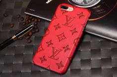 Leather Louis Vuitton iPhone 7/iPhone 8 Cases Phone Cover Red