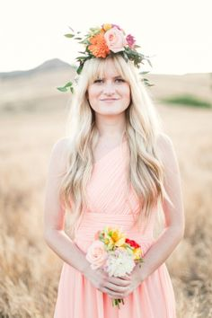 Boho bridesmaid look: http://www.stylemepretty.com/california-weddings/orange-county/2014/10/09/mix-and-match-bridesmaid-dress-inspiration/   Photography: Jessica Claire - http://www.jessicaclaire.net/