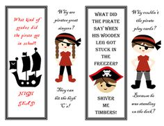 Four Jokes and cute pirate clip art!  These are great for a classroom or library with a pirate theme! They would e a lovely addition for pirate themed goody bag, too!  Some are in color and some are in black and white.  The black and white ones would look awesome on red paper! Scholastic Book Fair Fall 2016 Bookaneers!  Books are a treasure!