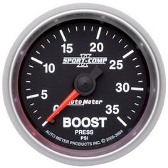 Auto Meter 3604 Sport-Comp II Mechanical Boost Gauge, Model: 3604, Car & Vehicle Accessories / Parts. Features Hi-Def(TM) through-the-dial white LED lighting. Includes 10 ft. Nylon tubing. Includes Male and Female 1/8 NPT compression fittings. Includes 1/8 NPT to 1/4 NPT adapter/fitting. Includes gauge mounting hardware and installation instructions.
