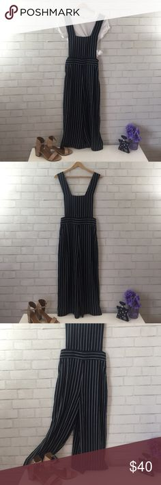 *Never Worn* Adorable pinstripe culotte  jumpsuit This culotte style jumpsuit is beyond precious. It can be dressed up or down, with heels or chuck taylors. Perfect for Summer! J.O.A. Pants Jumpsuits & Rompers