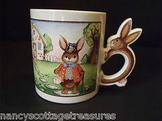 Vintage Figural Handle Bunny Cottage Easter Spring Coffee Mug Cup Made in Japan