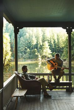Music on the porch. / One of the many reasons that staying in a home can make your vacation even better!