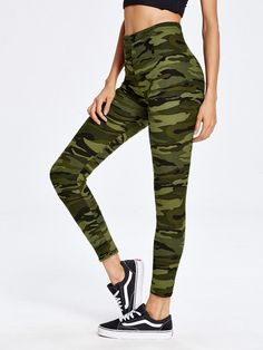 cb4967fddb89d Young Sporty Regular Multicolor Crop Length Camouflage Print Ankle Leggings