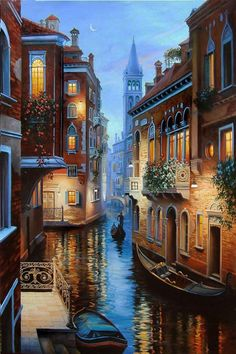 Where does one begin to start when discussing Italy. Well, if you intend to travel there, Rome and Venice are good places to start. Venice Painting, Italy Painting, Beautiful Landscapes, Landscape Paintings, City Landscape, Landscape Photos, Places To Travel, Travel Photography, Photography Tips