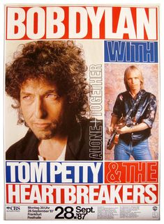 Bob Dylan & Tom Petty And The Heartbreakers Concert Poster Tour Posters, Band Posters, Music Posters, Event Posters, Bob Dylan Poster, Travelling Wilburys, Joan Baez, Tom Petty, Music Magazines