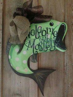 Bass fish ornament -door hanger for the man cave Painted Doors, Painted Signs, Wood Doors, Wooden Signs, Burlap Crafts, Wooden Crafts, Diy And Crafts, Fish Ornaments, Burlap Door Hangers