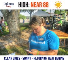 CULLMAN COUNTY WEATHER: MONDAY, June 20th - CLEAR SKIES - HEAT RETURNING - MAX UV of 11 - High 88° - TODAY: Cullman County weather will feature clear, sunny skies, a high temperature of 88° and general calm, light winds. At 9:00 am Monday current conditions at Cullman Regional Folsom Field:  UV - 11.0 VERY HIGH (max = 11)  FAIR - 79° Dew point: 59° Humidity: 58% Wind: South 6 mph Barometer: 30.37 inches Visibility: 10.00 miles  Sunrise = 5:36 am Sunset = 8:02 pm