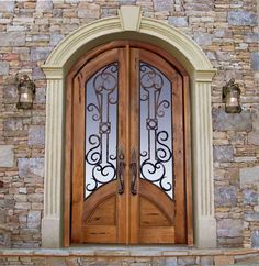 Custom Castle Doors - solid wood designer doors with iron door grills - handcrafted in America by Scottsdale Art Factory since 1913 - custom door designed from historical records in any size and style Wood Glass, Glass Door, Exterior Doors, Interior And Exterior, Porches, Door Design, House Design, Castle Doors, Wrought Iron Doors