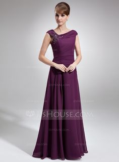 A-Line/Princess Off-the-Shoulder Floor-Length Ruffle Beading Zipper Up at Side Cap Straps Sleeveless No Grape Spring Fall General Plus Chiffon Mother of the Bride Dress