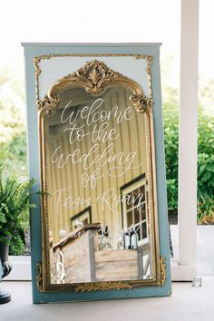 Vintage Blue and Gold Mirror for a Hand Lettered Wedding Sign