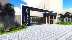 Portaria Residencial Copacabana - Bauru/SP Entrance Gates, Main Entrance, Facade Architecture, Landscape Architecture, Gate Design, House Design, Portal, School Signage, Guard House