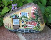 Painted garden rock, fairy cottage house