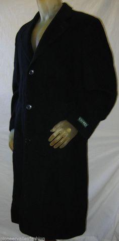 RALPH LAUREN Mens Overcoat Cashmere Blend Luxury Trench Coat Black Italy 40 R