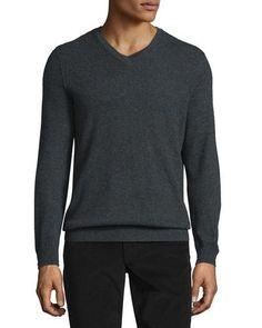 Cashmere V-Neck Sweater, Heather Shadow