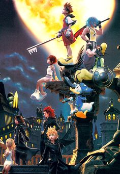 THESE GRAPHICS THOUGH AND YOU CAN EVEN SEE AXEL AND XION AND ROXAS AND NAMINE ON THE BOTTOM NOW | kingdom hearts 1.5