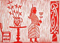 Cerisse Palalagi, Wikitoria, Relief/Lino on 250 x 305 mm paper, from an edition of 20, 2009. NZ$245 incl GST. Polynesian Art, Maori Designs, Maori Art, London Art, Wood Engraving, Native Art, Art Festival, Printmaking, Paper Art