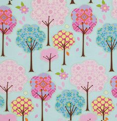 Trees in Blue / Pretty Little Things  by Dena Designs - 1 Yard Cotton Quilt Fashion Fabric