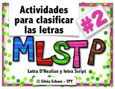 actividades para clasificar las letras  Mm, Ll, Ss, Tt y Pp en espaol, incluyendo identificacin de letras, sonidos iniciales y dibujos.