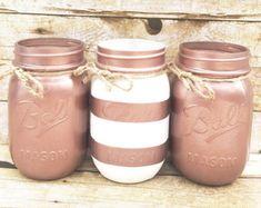 Lot de 3 pots Mason bande peinte à la main, centres de table de mariage, cadeaux de professeur, ressort de pots Mason or mariage, Rose, rustique, cadeaux de Noël!