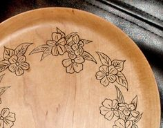 Maple Wood Plate with Pyrography Flowers
