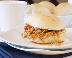 Slow-Cooker Spicy Buffalo Chicken Sandwiches. And if you want to do it the easy way, go here: http://brandyscrafts.blogspot.com/2010/03/slow-cooker-buffalo-chicken-sandwiches.html