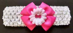 Baby Headband Pink Headband Baby Bow by GloriaMillerCreation