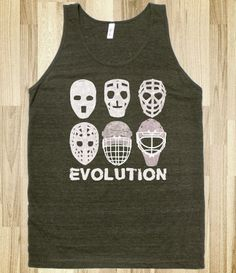 Hockey Goalie Mask Evolution Tee - Game Face Gear - Skreened T-shirts, Organic Shirts, Hoodies, Kids Tees, Baby One-Pieces and Tote Bags Hockey Goalie, Hockey Mom, Blackhawks Hockey, Soccer, Montreal Canadiens, Neon T Shirt, American Apparel, Relationship Shirts, Party Hard